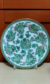 Vintage Nine dragons ceramic hand painted decorated plate