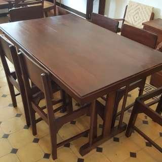 Meja makan jati set