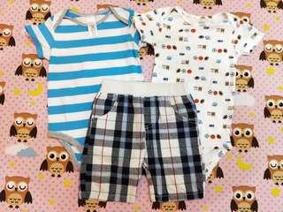🚚 Carter's 包屁衣18個月兩件+無牌短褲5號(三件合售)