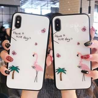 ^手機殼IPhone6/7/8/plus/X : 夏日小清新火烈鳥全包黑邊玻璃背板殼