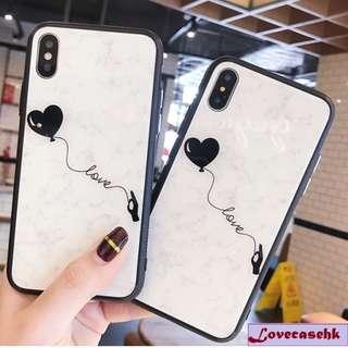 ^手機殼IPhone6/7/8/plus/X : 簡約愛心大理石紋全包黑邊玻璃背板殼