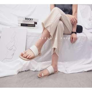 Alexa&Love 歐美米白色方頭真皮拖鞋懶人鞋(特)