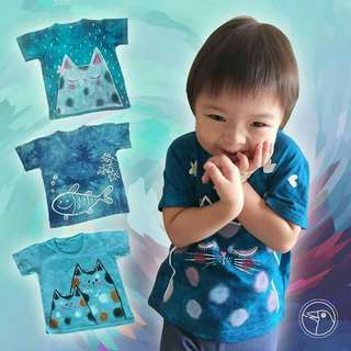 Hand Dyed and Painted Cotton T-Shirts for Kids
