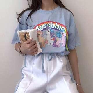 🚚 獨角獸🦄️彩虹小馬印花天藍原宿寬鬆短袖T恤
