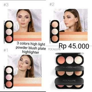 (PO) 3 colors highliht powder blush Focallure
