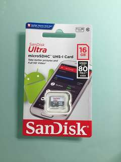 SanDisk Micro SD Card 16GB FULL HD VIDEO