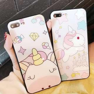 ^手機殼IPhone6/7/8/plus/X : 粉色獨角獸全包黑邊玻璃背板殼