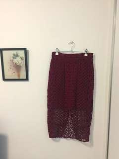 Bardot Rose Lace Skirt