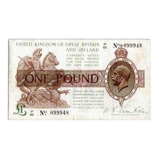 1924年大英帝國政府財政部英皇佐治五世像國會大樓壹英鎊(金幣)銀票