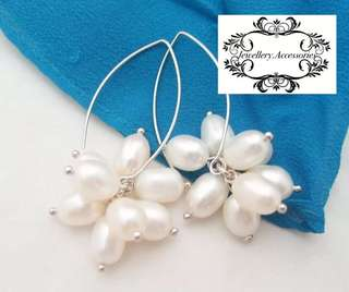 925 Silver Genuine Lustrous White Pearl Cluster Drop Dangle Earrings 925純銀光亮白色真珍珠束垂吊耳環
