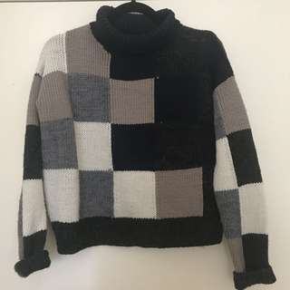 Square knit jumper