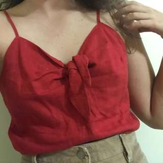 Red tie up cami top