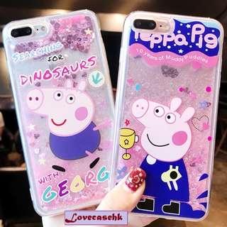 ^手機殼IPhone6/7/8/plus/X : Peppapig小豬流沙閃粉全包邊軟殼