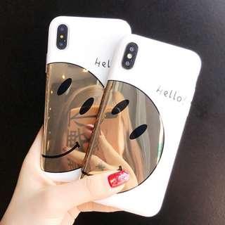 ^手機殼IPhone6/7/8/plus/X : 韓風鏡面笑臉全包邊軟殼