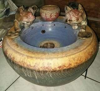 雙貔貅聚寶流水盆