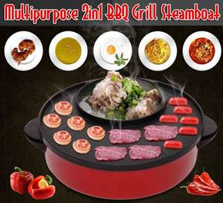 Multipurpose 2in1 BBQ Grill Steamboat