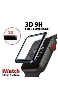 升級板AppleWatch 3D 9H 玻璃貼-碳纖維軟邊 42/38MM series 1/2/3
