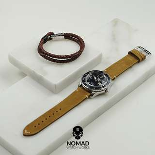 🚚 Premium Vintage Calf Leather Watch Strap in Tan