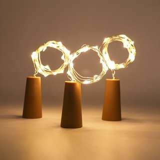 Warm White Bottle Stopper LED Copper Lights With Battery Included