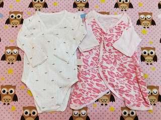 🚚 麗嬰房透氣蝴蝶衣(0-6個月)兩件合售