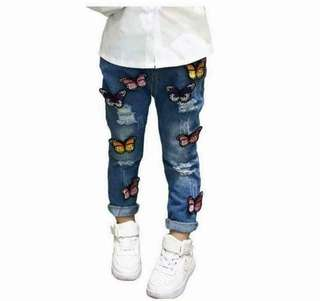 Kids pants jeans butterfly - Ready Stock