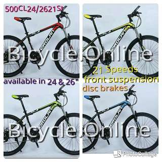 "24"" & 26"" CROLAN MTB / Mountain Bikes ✩ 21 Speeds, front suspension, Disc brakes ✩ Brand New Bicycles"