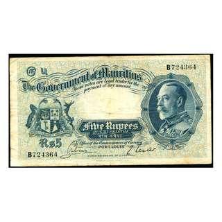 1930年英屬毛里求斯英皇佐治五世像鹿鳥殖民徽5盧比銀票(少見)