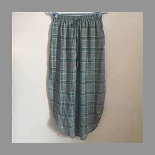 blue checkered skirt with side slits