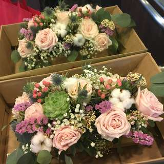 Floral Arrangement in Roses Cotton Succulent and Mix Fillers / Wooden Crate Flower Centerpiece