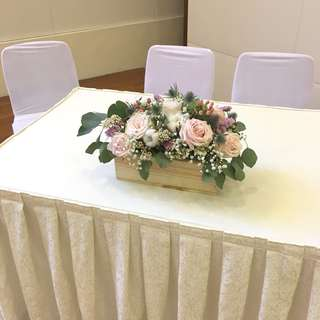 Pastel Pink Roses with Cotton and Succulent Table Centerpiece / Fresh Flowers for ROM Table