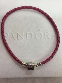 Honeysuckle leather pink charm bracelet