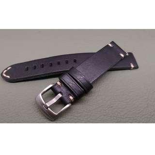 18mm錶帶 100% 牛皮帶 合用: ROLEX TUDOR IWC OMEGA (ref:1818牛皮黑色)