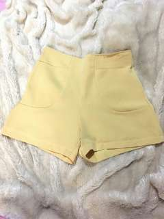 Mustard Yellow High Waist Shorts with Pockets