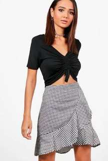 Ruffle front woven checked mini skirt
