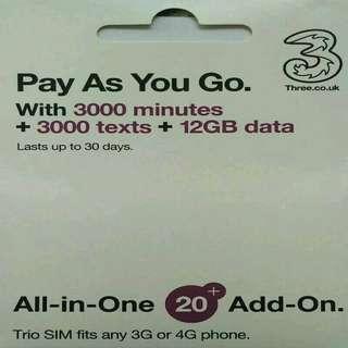 EUROPE 歐洲多國 上網卡 30日 4G/3G 12GB英國 或 9GB 歐洲其他國家 數據卡 +3000分鐘英國當地通話 SIM CARD