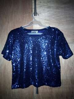 Blue Sequined Top