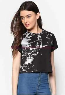 Something Borrowed Splatter Print Crop Tee