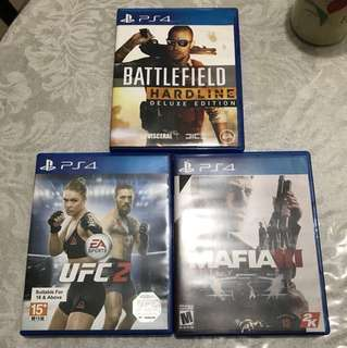 UFC 2 (Sold), Mafia 3, BF Hardline. PS4