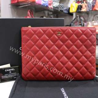 Chanel Red Lambskin Le boy O Case Medium