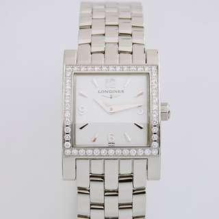 原裝真品 LONGINES 浪琴 Dolce Vita 系列 經典方形原鑲鑽石女鑽錶