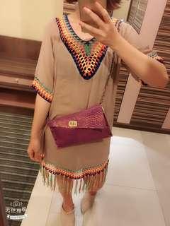 🚚 彩色編織流蘇洋裝