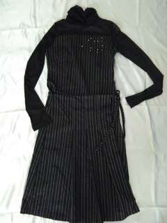 Dress hitam salur (new)