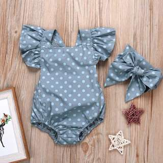 2 piece Polka Dotted Ruffled Sleeves Romper and Headband for Baby Girl