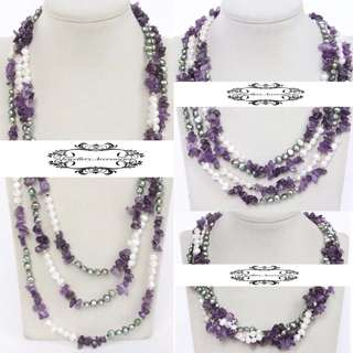 3 Ways 18KGP Lustrous Genuine Baroque Pearls Amethyst Crystals Necklace 3穿法18K金光亮真巴洛克珍珠紫水晶長項鍊