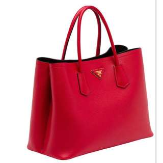 Prada Double Saffiano Leather Bag Tote Red Black