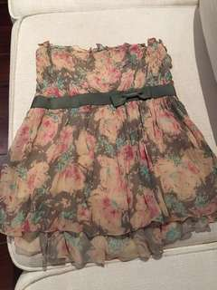 authentic Calvin Klein summer top size S (small) blush pink grey nude floral spring with ribbon