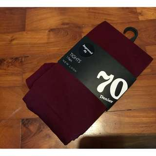 BN NEW LOOK> Maroon 70 Denier Tights