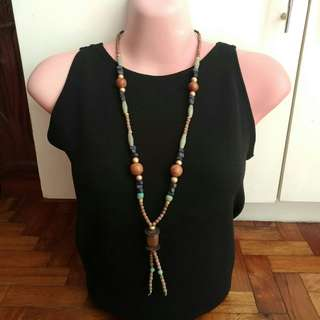 Wooden Beaded Opera Necklace