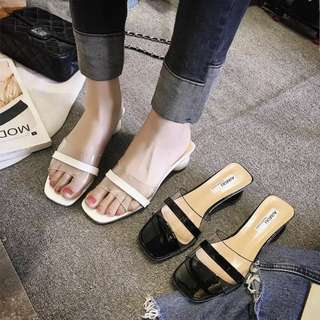 Slipper female summer wearing European station open-toed transparent flip-flop thick with high-heeled Rome cool slippers