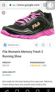 Fila Memory Foam Cushioned Womens Running Shoes